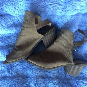 Lucky Brand Brown Suede Wedge with open back